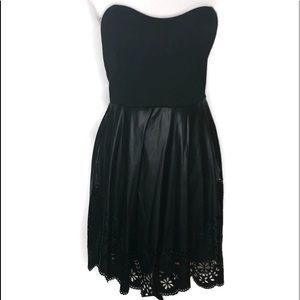 Dots strapless dress in black.  Size L. Has lining